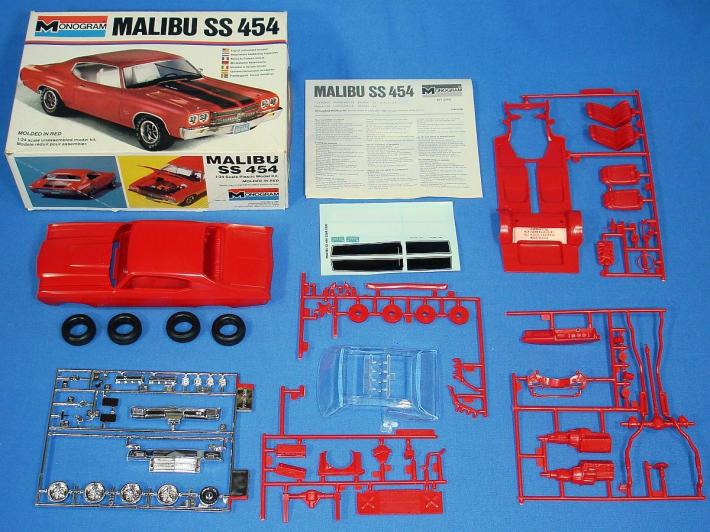 MONOGRAM_1970_CHEVROLET_CHEVY_MALIBU_SS_454_PLASTIC_MODEL_KIT_2268_BOX_PARTS_DECALS_INSTRUCTIONS